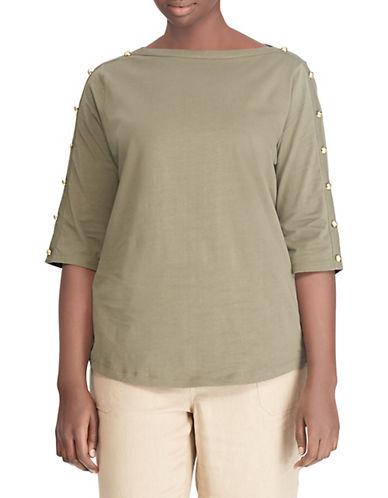 Lauren Ralph Lauren Plus Buttoned Shoulder Jersey Top 90048418