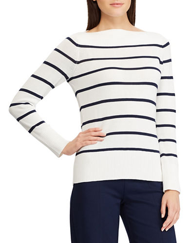 Chaps Striped Boat Neck Sweater-WHITE-X-Small