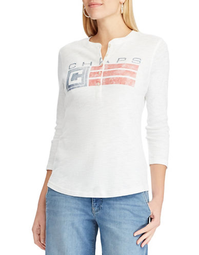 Chaps Logo Henley Shirt-WHITE-Small