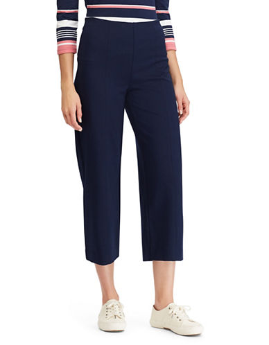 Chaps Cropped Wide-Leg Pants-NAVY-Small