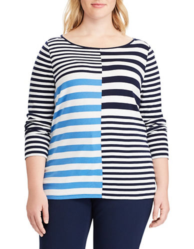 Chaps Plus Striped Cotton-Blend Top-WHITE-1X
