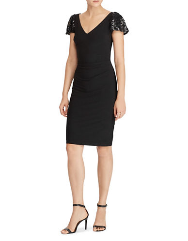 Lauren Ralph Lauren Flutter-Sleeve Sheath Dress-BLACK-4
