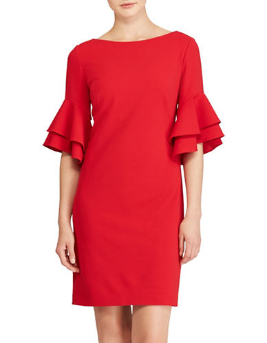 Lauren Ralph Lauren Ruffled Crepe Sheath Dress-RED-10
