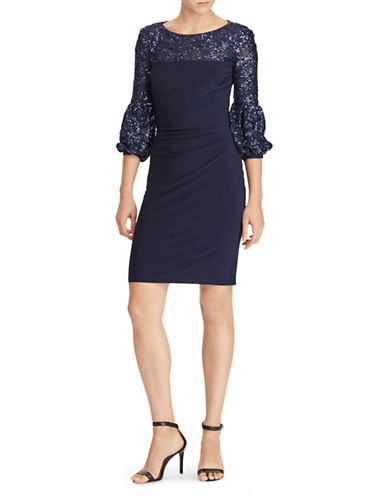 Lauren Ralph Lauren Sequined-Trim Jersey Dress-BLUE-0