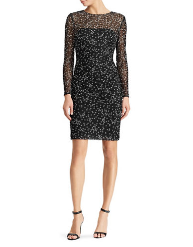 Lauren Ralph Lauren Floral Embroidered Dress-BLACK/WHITE-14