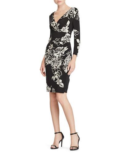 Lauren Ralph Lauren Floral Jersey Dress-BLACK/GREY-12
