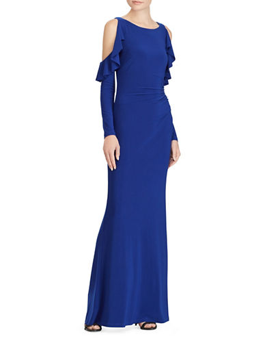 Lauren Ralph Lauren Ruffled Cold-Shoulder Column Gown-TIDAL BLUE-12