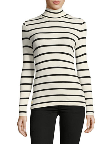 Lauren Ralph Lauren Stripe Turtleneck Sweater-WHITE-Large
