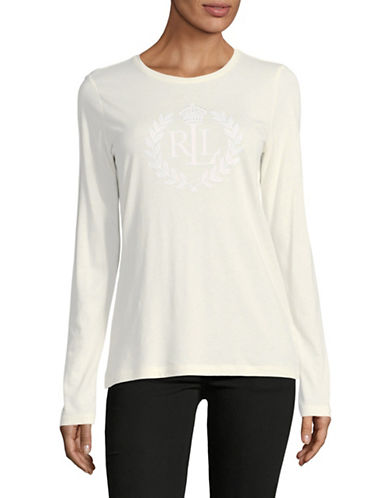 Lauren Ralph Lauren Long Sleeve Embroidered Logo Tee-NATURAL-X-Large