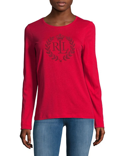 Lauren Ralph Lauren Long Sleeve Embroidered Logo Tee-RED-Medium
