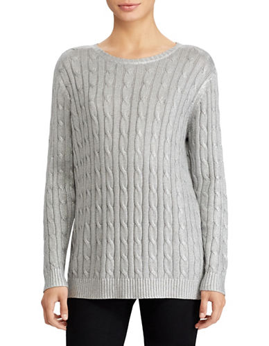 Lauren Ralph Lauren Cable Knit Sweater-SILVER-Small
