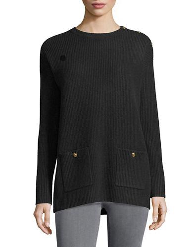 Lauren Ralph Lauren Button Crew Neck Sweater-BLACK-Medium