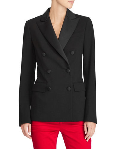 Lauren Ralph Lauren Double-Breasted Blazer-BLACK-10