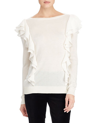 Lauren Ralph Lauren Ruffled Sweater-NATURAL-Medium