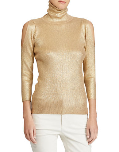 Lauren Ralph Lauren Metallic Cutout-Shoulder Turtleneck Sweater-GOLD-X-Large