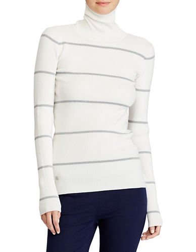 Lauren Ralph Lauren Stretch Cotton Turtleneck Sweater-SILVER-X-Large