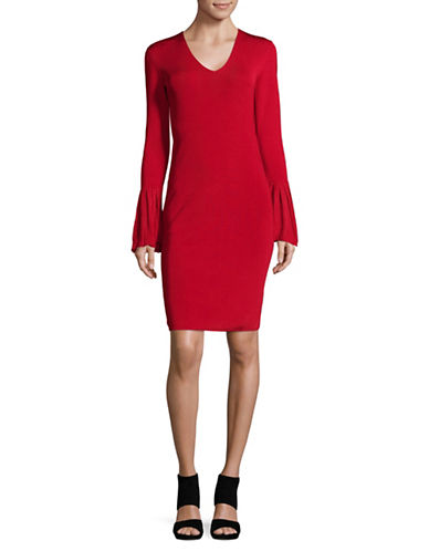 Lauren Ralph Lauren Bell-Sleeve V-Neck Dress-RED-X-Large