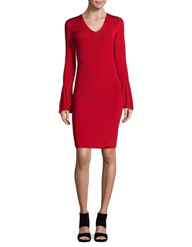 Lauren Ralph Lauren Bell-Sleeve V-Neck Dress-RED-Large
