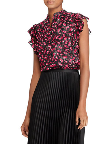 Lauren Ralph Lauren Floral Ruffle Sleeveless Blouse-MULTI-X-Large