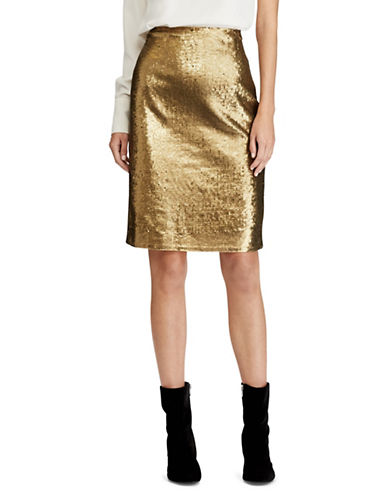 Lauren Ralph Lauren Sequin Pencil Skirt-GOLD-12