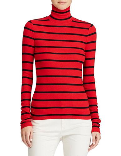 Lauren Ralph Lauren Petite Turtleneck Long Sleeve Top-RED-Petite Large