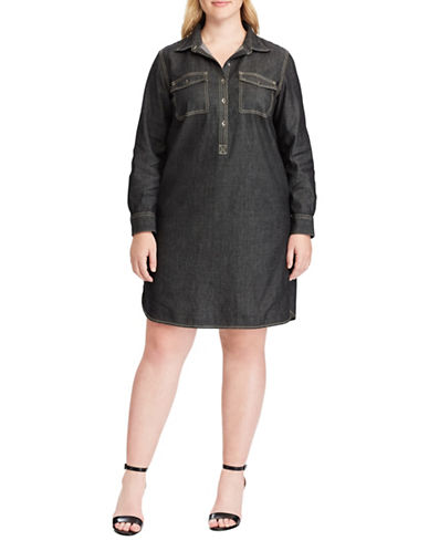 Chaps Plus Denim Shirtdress-BLACK-3X