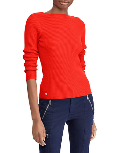 Lauren Ralph Lauren Cotton-Blend Boatneck Sweater-RED-Large