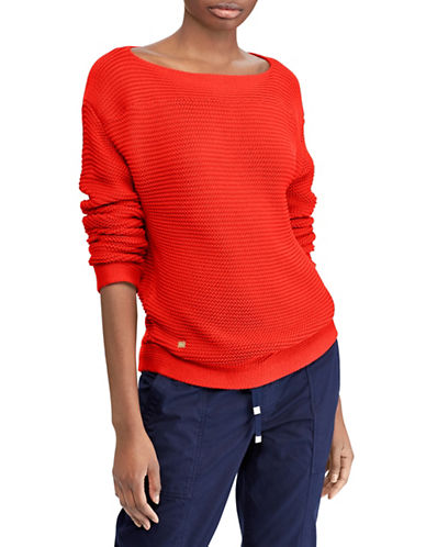 Lauren Ralph Lauren Ribbed Cotton Boat Neck Sweater-TOMATO RED-X-Small