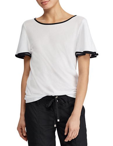 Lauren Ralph Lauren Two-Tone Flutter-Sleeve Top-WHITE-Small