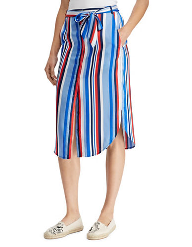Lauren Ralph Lauren Striped Twill Skirt-MULTI-14