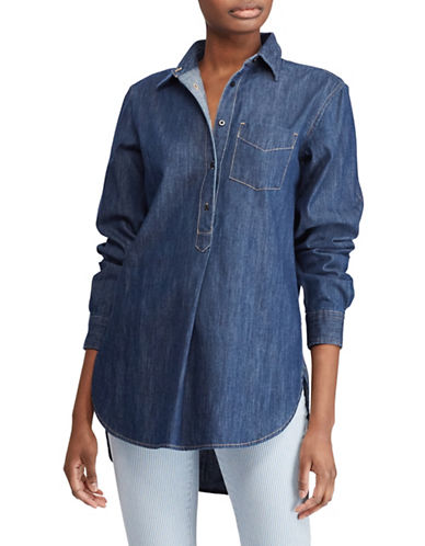 Lauren Ralph Lauren Buttoned Denim Tunic-BLUE WASH-X-Large
