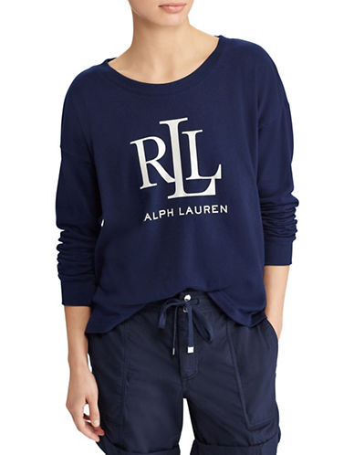 Lauren Ralph Lauren Logo French Terry Sweatshirt-NAVY-Large