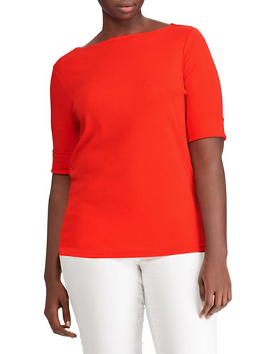 Lauren Ralph Lauren Plus Cotton Boat neck Tee 89834943
