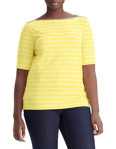 Lauren Ralph Lauren Plus Striped Cotton Boat Neck Top 89834972