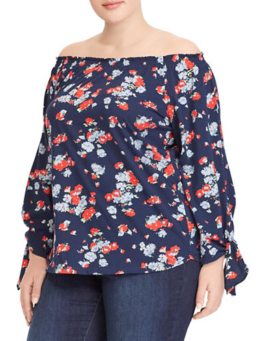 Lauren Ralph Lauren Plus Floral Jersey Off-the-Shoulder Top-NAVY-1X