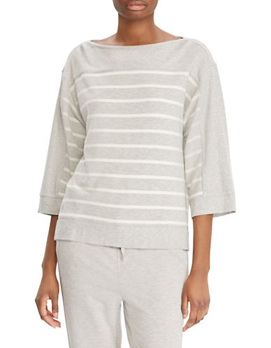 Lauren Ralph Lauren Quarter-Sleeve Striped Top-GREY-Large 89955902_GREY_Large