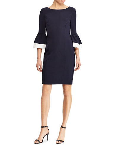 Lauren Ralph Lauren Crepe Bell-Sleeve Dress-NAVY-16