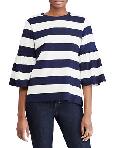 Lauren Ralph Lauren Striped Ponte Bell-Sleeve Top-NAVY/WHITE-X-Large