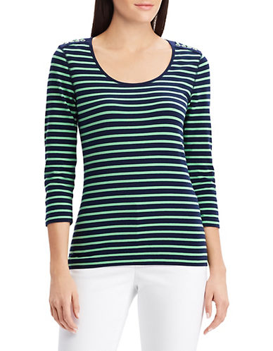 Chaps Striped Jersey Top-GREEN-Medium 90066176_GREEN_Medium