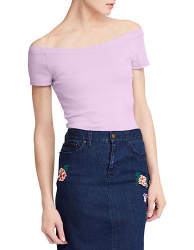 Lauren Ralph Lauren Cap-Sleeve Jersey Top-PINK-Small 90089319_PINK_Small