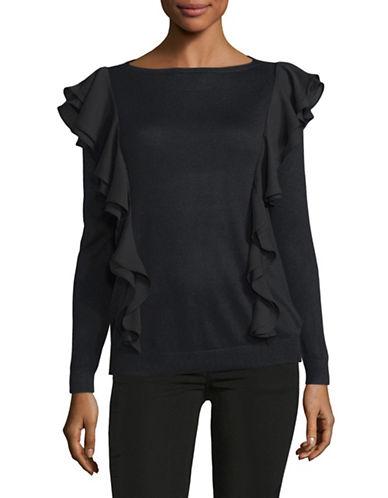 Lauren Ralph Lauren Petite Daytana Ruffled Silk-Blend Pullover-BLACK-Petite Small
