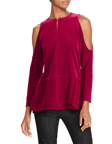 Lauren Ralph Lauren Petite Velvet Cold Shoulder Top-RED-Petite Medium