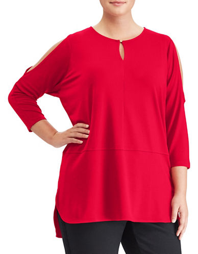 Lauren Ralph Lauren Plus Jersey Cutout-Shoulder Top-LIPSTICK RED-1X