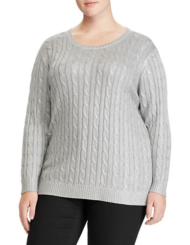Lauren Ralph Lauren Plus Cable Cotton-Blend Sweater-SILVER-2X