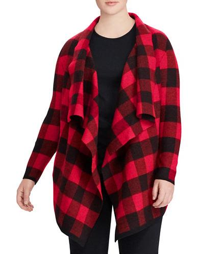 Lauren Ralph Lauren Plus Buffalo Plaid Merino Wool Jacket-BLACK/RED-3X