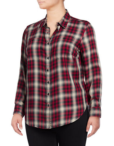 Lauren Ralph Lauren Plus Plaid Hi-Lo Button-Down Shirt-RED MULTI-2X