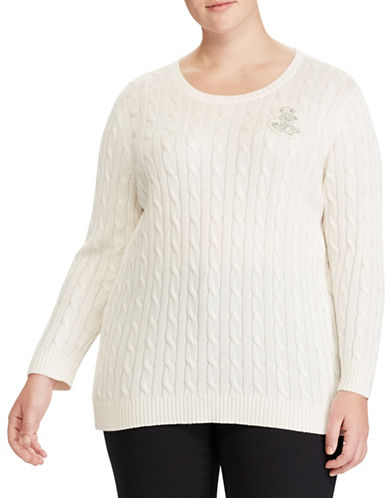 Lauren Ralph Lauren Plus Crest Cable-Knit Sweater-CREAM-1X