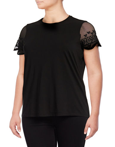 Lauren Ralph Lauren Plus Embroidered Mesh Sleeve Tee-POLO BLACK-2X