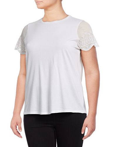 Lauren Ralph Lauren Plus Embroidered Mesh Sleeve Tee-WHITE-3X