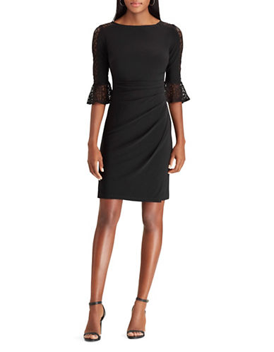 Chaps Lace-Trim Jersey Sheath Dress-BLACK-Medium